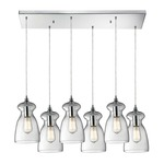 Menlow Park 60053-6RC 6-Light Linear Pendant - Polished Chrome / Clear