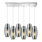 Menlow Park 60064-6RC 6-Light Linear Pendant - Polished Chrome / Mercury Glass