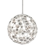 Fathom LED Pendant - White/ Polished Stainless / Crystal