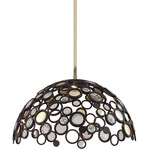 Fathom LED Dome Pendant - Bronze/ Polished Brass / Crystal