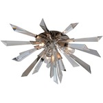 Inertia Ceiling Flush Mount - Silver Leaf / Crystal