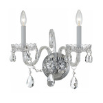 Traditional Crystal 1032 Wall Sconce - Polished Chrome / Crystal