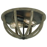 Allier Flush Mount - Weathered Oak Wood / Antique Forged Iron /