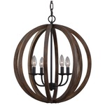 Allier Chandelier - Weathered Oak Wood / Antique Forged Iron /