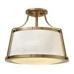 Charlotte Semi Flush Ceiling Light - Brushed Caramel / Etched Opal
