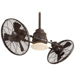 Vintage Gyro Ceiling Fan with Light - Oil Rubbed Bronze / Tinted Opal
