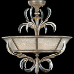 Beveled Arcs Semi Flush Mount - Silver Leaf / Crystal