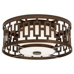 River Oaks Outdoor Flush Mount - Dark Bronze / Off White