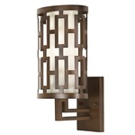 River Oaks Outdoor Wall Sconce - Dark Bronze / Off White