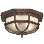 Holland Park Outdoor Flush Mount - Antique Bronze / Seedy Glass