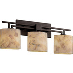 Aero Three Light Oval Bath Bar - Dark Bronze / Alabaster Rocks