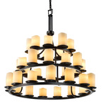 Dakota Three Tier Cylinder Melted Rim Chandelier - Matte Black / Cream