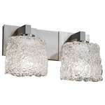 Modular Veneto Luce Two Light Oval Bath Bar - Brushed Nickel / Lace