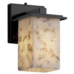 Montana Square Flat Rim Wall Sconce - Matte Black / Alabaster Rocks