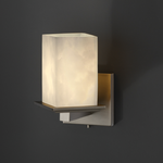Montana Square Flat Rim Angled Bobeche Wall Sconce - Brushed Nickel / Clouds Resin