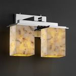 Montana Two Light Square Bath Bar - Polished Chrome / Alabaster Rocks