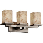 Montana Four Light Square Bath Bar - Brushed Nickel / Alabaster Rocks