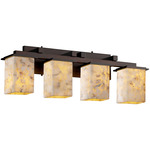 Montana Four Light Square Bath Bar - Dark Bronze / Alabaster Rocks