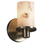 Rondo Flat Rim Wall Sconce - Brushed Nickel / Faux Alabaster