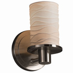 Rondo Flat Rim Wall Sconce - Brushed Nickel / Waves Porcelain