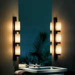 Ondrian Left Vertical 3 Light Bathroom Vanity Light - Dark Smoke / Opal