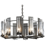 New Town 10 Arm Chandelier - Dark Smoke / Clear Seeded