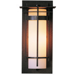 Banded Top Plate Small Outdoor Wall Light - Coastal Natural Iron / Opal