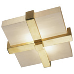 Doughnut Ceiling Flush Mount - Antique Natural Brass / Marbelized Glass