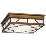 Addison Ceiling Flush Light - Weathered Brass / White