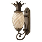 Plantation Outdoor Curved Base Wall Light Amber Optic - Pearl Bronze / Etched Amber Optic