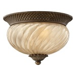 Plantation Outdoor Flush Mount - Pearl Bronze / Etched Amber Optic