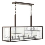 Mondrian Linear Pendant - Buckeye Bronze / Copper Foil Bound Glass