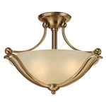 Bolla Semi Flush Ceiling Light - Brushed Bronze / Light Amber Seedy /