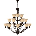 Bolla Uplight Chandelier - Olde Bronze / Light Amber Seedy /