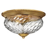 Plantation 16 inch Ceiling Light Fixture - Burnished Brass / Clear Optic /