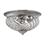 Plantation 16 inch Ceiling Light Fixture - Polished Antique Nickel / Clear Optic /