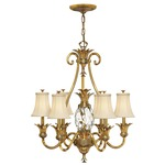 Plantation 7 Light Shades Chandelier - Burnished Brass / Clear Optic / Ivory Silk