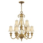 Plantation 10 Light Shades Chandelier - Burnished Brass / Clear Optic / Ivory Silk