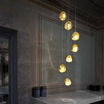 Mizu 7 Light Pendant - Brushed Nickel / Gold