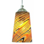 Taupe Feather Pendant - Satin Nickel / Amber