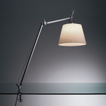 Tolomeo Mega LED Table Lamp with Clamp - Polished Aluminum / Parchment Paper