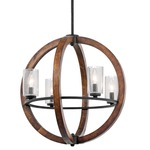 Grand Bank Globe Chandelier - Auburn Stained / Clear Seeded