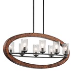 Grand Bank Oval Chandelier - Auburn Stained / Clear Seeded