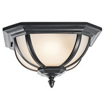Salisbury Outdoor Flush Mount - Black / White Linen