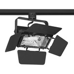 T366 Quartz Flood Track Fixture with Barn Doors 120V - Black /