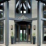 Vertical Bars Outdoor Wall Sconce - Black / Opal