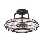 Connell Ceiling Semi Flush Light - English Bronze / Clear Seeded