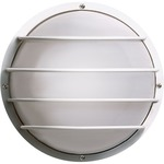 Cage Round Outdoor Wall Light - White / Frosted