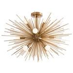 Zanadoo Semi Flush Ceiling Light Fixture - Antique Brass