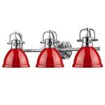 Duncan Bathroom Vanity Light - Chrome / Red
